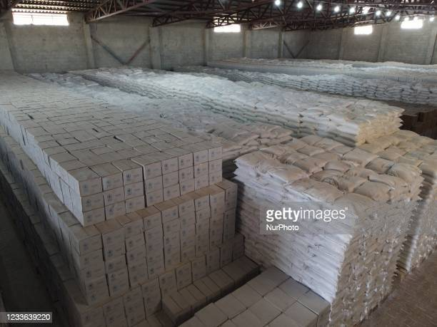 Trucks Loaded With Humanitarian Aid Provided By The United Nations World Food Program Enter Northern Syria Through Bab Al-Hawa Crossing on June 24,...