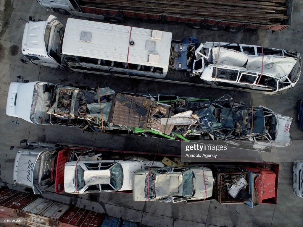 Old junk cars are recycled at scrap yard in Izmir Pictures | Getty ...