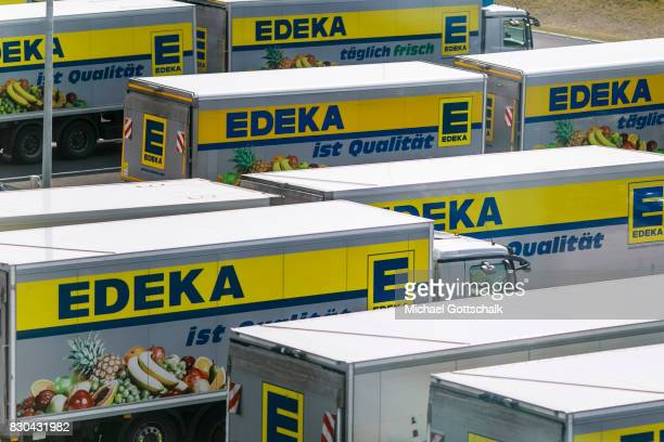 Trucks of Edeka Supermarket Cooperative or Edeka Frische Logistikzentrum stand next to each other at Edeka Warehouse on August 09 2017 in Freienbrink...
