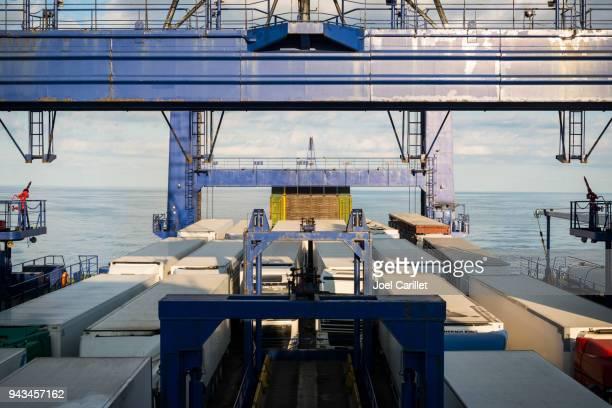 trucks on black sea ferry - odessa ukraine stock pictures, royalty-free photos & images