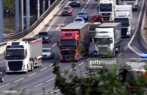 Trucks on the Dartford crossing bridge near Dartford, U.K., on Friday, Sept. 3, 2021. The U.K. Is running out of time to find more truck drivers...