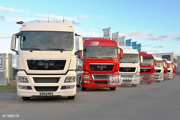 MAN TGX trucks on the parking