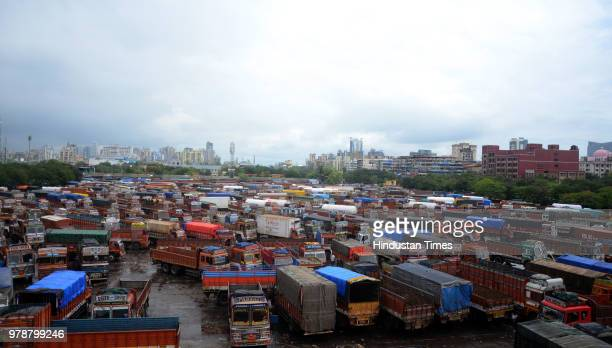 Trucks parked at the APMC truck terminal in Vashi owing to the indefinite strike on June 18 2018 in Navi Mumbai India The All India Confederation of...