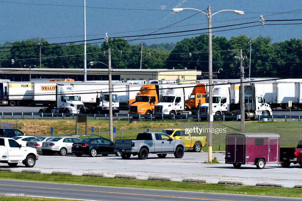 Trucks parked at the yard of YRC Freight in Carlisle, PA, on