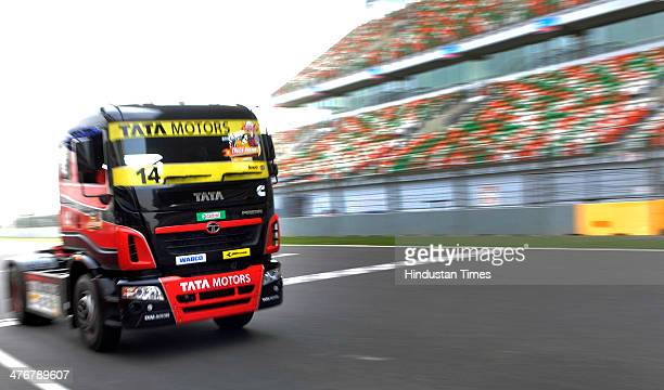 Trucks practicing at Buddh International Circuit on March 5, 2014 in Greater Noida, India. T1 Truck Racing Championship will be hosted at Buddh...