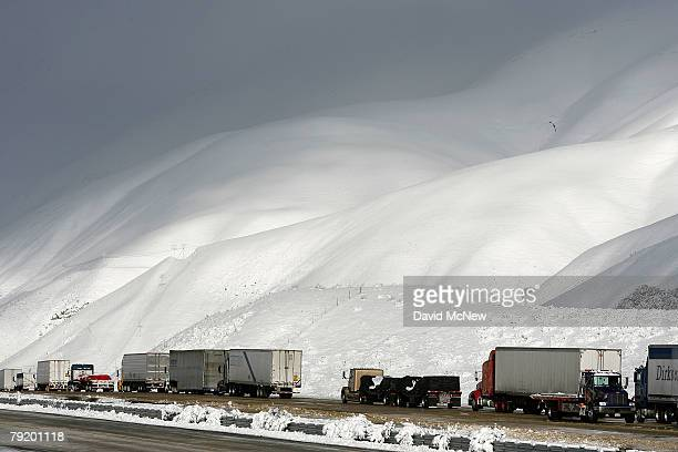 Trucks sit backed up on northbound Interstate 5 the main route between Los Angeles to the south and Sacramento and San Francisco as the freeway...