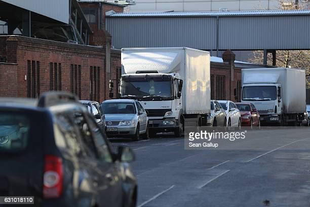 Trucks stand parked in FriedrichKrauseUfer street on January 5 2017 in Berlin Germany According to police Anis Amri the Tunisian man German...