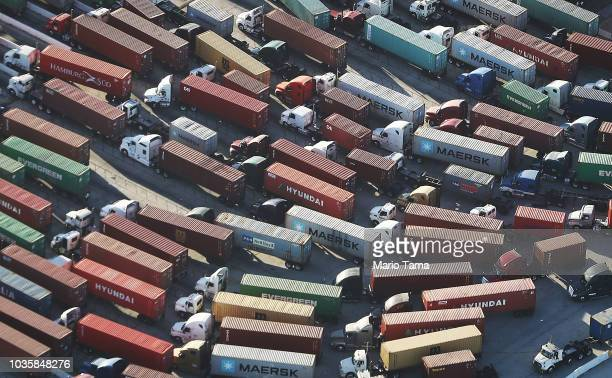 Trucks stand prepared to haul shipping containers at the Port of Los Angeles the nation's busiest container port on September 18 2018 in San Pedro...