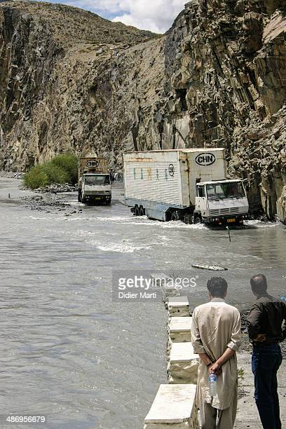 Trucks stuck along the Karakoram Highway in North Pakistan
