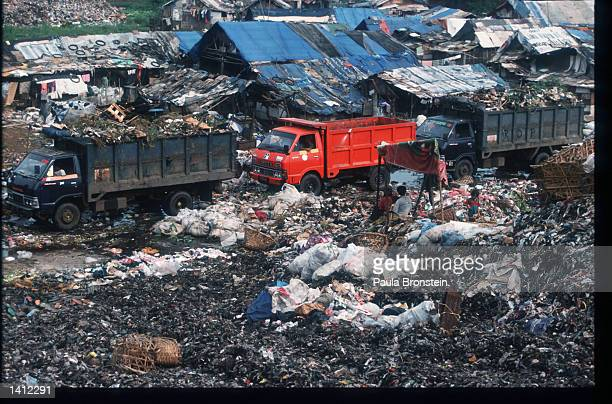 Trucks transport garbage at the Bekasi Dump November 15 1998 in Jakarta Indonesia The widening gap between the rich and the poor and the rising...
