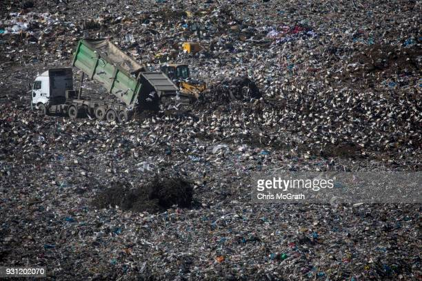 Trucks unload waste to a the landfill site at the Sile Integrated Waste Facility Center on March 12 2018 in Istanbul Turkey Istanbul's three main...