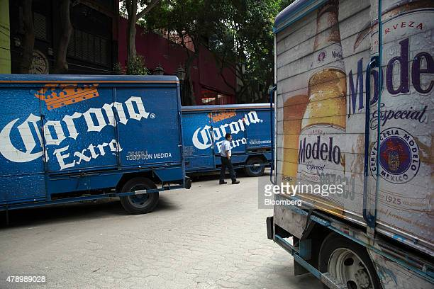 Trucks with Constellation Brands Inc Corona and Modelo beer sit during a delivery in the Zona Rosa neighborhood in Mexico City Mexico on Wednesday...