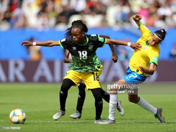 Trudi Carter of Jamaica battles for possession with Andressa of Brazil during the 2019 FIFA Women's World Cup France group C match between Brazil and...