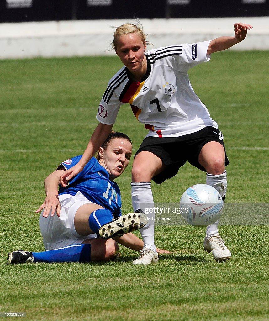 Trudi Kaanak (R) of Germany fights for the ball with Lissalbo Gareti of Italy during the UEFA Women's Under-19 European Championship group A match between Germany and Italy at Milano Arena on May 24, 2010 in Kumanovo, Macedonia.