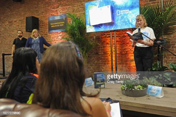 Trudi Trueit author of Explorer Academy The Nebula Secret speaks during the Explorer Academy launch event hosted by National Geographic on September...