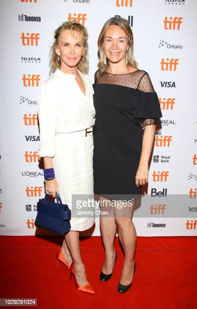Trudie Styler and Celine Rattray attend the 'Skin' premiere during 2018 Toronto International Film Festival at Winter Garden Theatre on September 8...