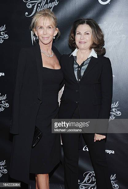 Trudie Styler and costume designer Colleen Atwood attend the 'Breakfast At Tiffany's' Broadway Opening Night at Cort Theatre on March 20 2013 in New...