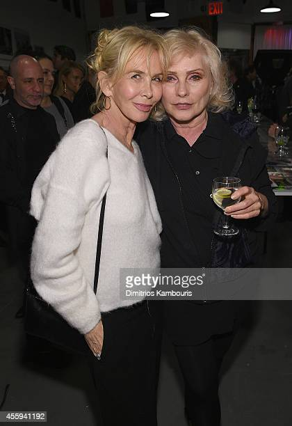 Trudie Styler and Debbie Harry attend The 40th Anniversary Of Blondie exhibition at Chelsea Hotel Storefront Gallery on September 22, 2014 in New...