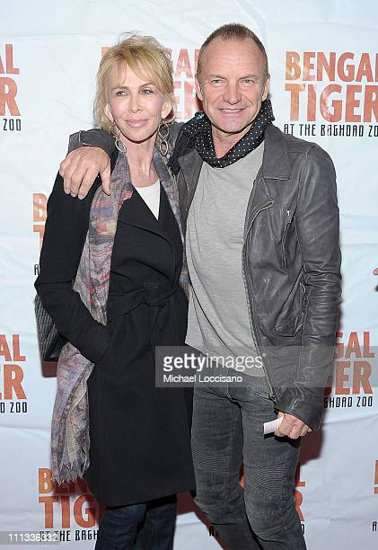 Trudie Styler and husband musician Sting attend the opening night of Bengal Tiger At The Baghdad Zoo at the Richard Rodgers Theatre on March 31 2011...