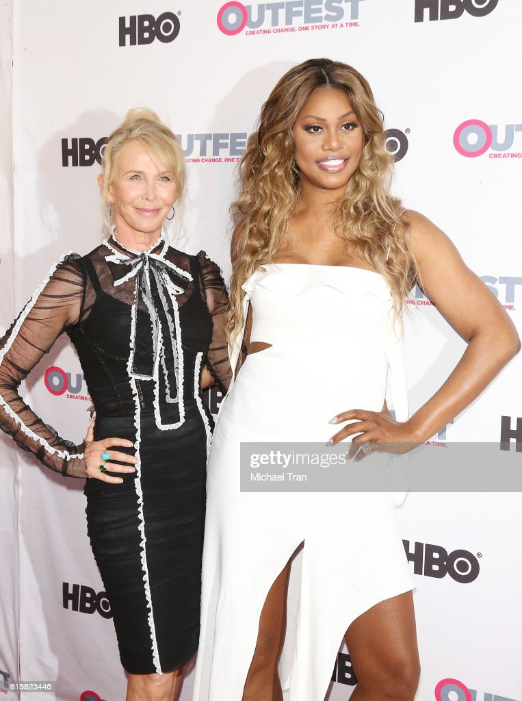 Trudie Styler (L) and Laverne Cox arrive at the 2017 Outfest Los Angeles LGBT Film Festival - closing night gala screening of 'Freak Show' held at The Theatre at Ace Hotel on July 16, 2017 in Los Angeles, California.