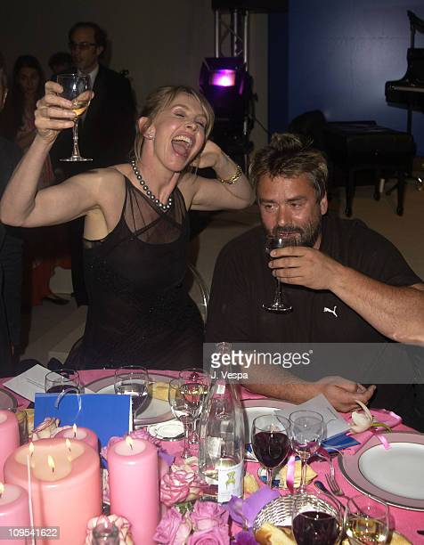 Trudie Styler and Luc Besson during 2003 Cannes Film Festival Cinema Against AIDS 2003 to benefit amfAR sponsored by Miramax Dinner at Le Moulin du...