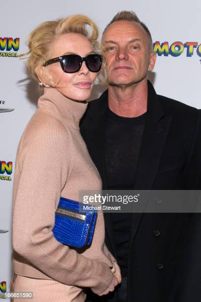 "Trudie Styler and musician Sting attend the Broadway opening night for ""Motown: The Musical"" at Lunt-Fontanne Theatre on April 14, 2013 in New York..."