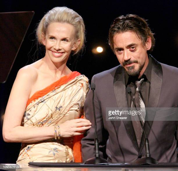 Trudie Styler and Robert Downey Jr during UNICEF Snowflake Ball Honoring Leslie Moonves and Trudie Styler Presented by Baccarat Show November 30 2005...