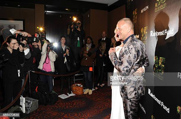 Trudie Styler and Sting arrive at the 25th Anniversary Rainforest Fund Benefit at Mandarin Oriental Hotel on April 17 2014 in New York City