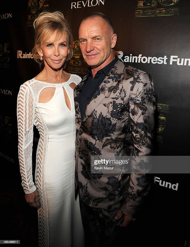 Trudie Styler and Sting arrive at the 25th Anniversary Rainforest Fund Benefit at Mandarin Oriental Hotel on April 17, 2014 in New York City.
