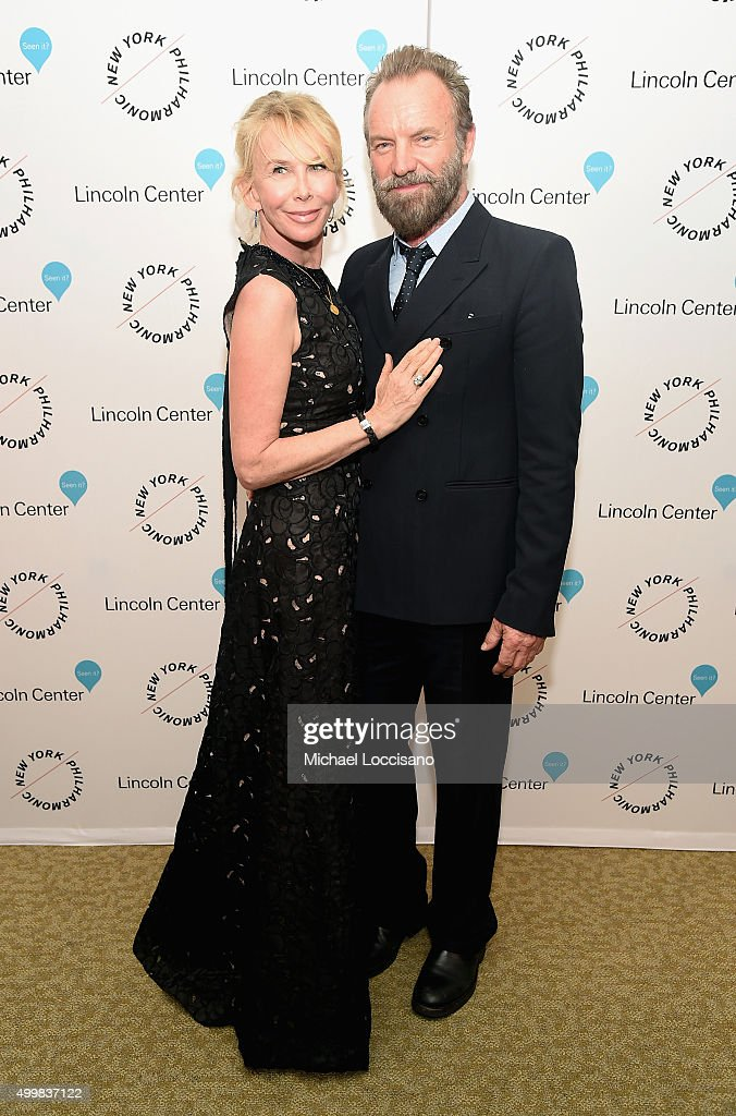 Trudie Styler and Sting attend Sinatra Voice for A Century Event at David Geffen Hall on December 3, 2015 in New York City.