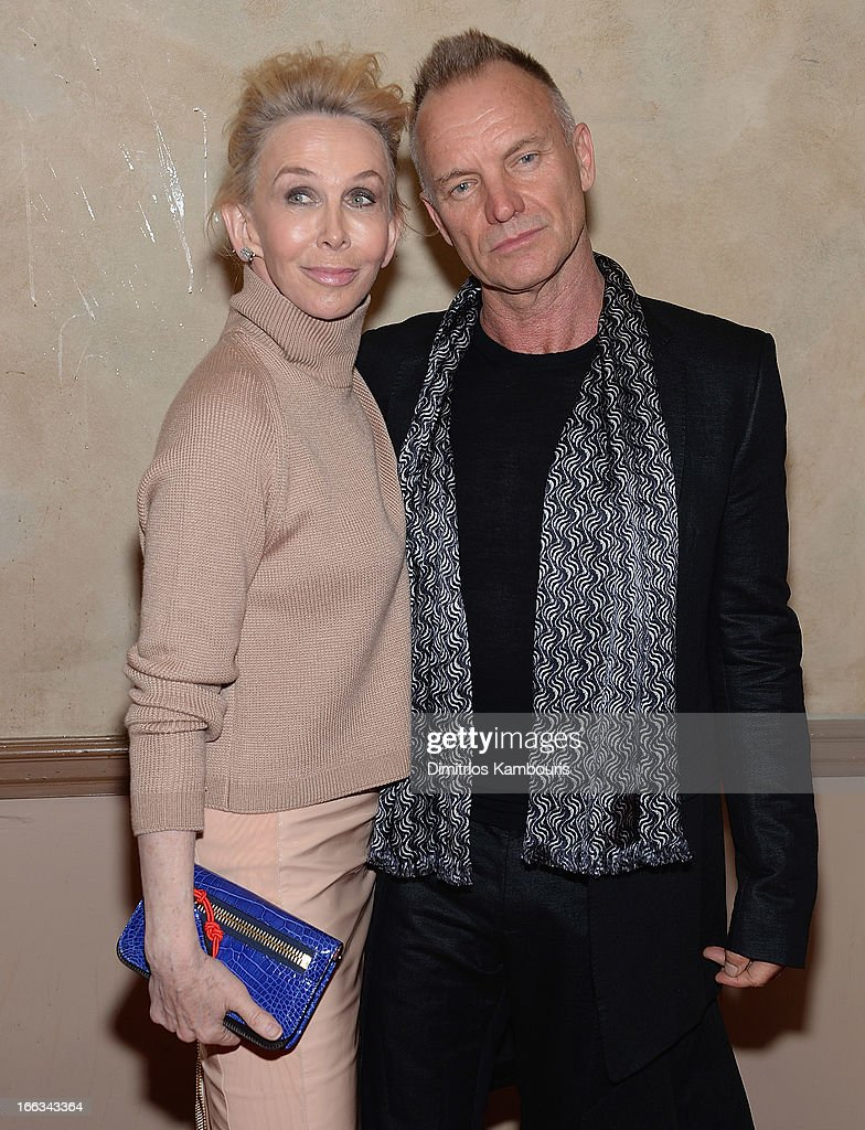 Trudie Styler and Sting attend the 0213 We Are Family Honors Gala at Manhattan Center Grand Ballroom on April 11, 2013 in New York City.