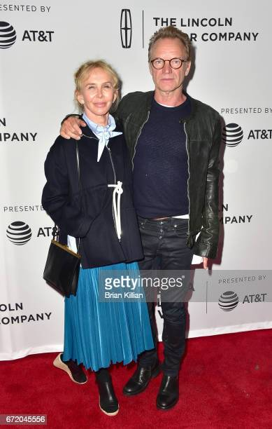 Trudie Styler and Sting attend the 2017 Tribeca Film Festival The Clapper screening at SVA Theatre on April 23 2017 in New York City