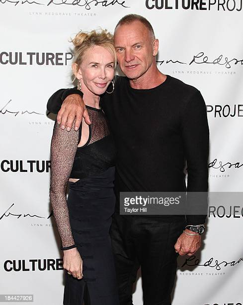 """Trudie Styler and Sting attend The Culture Project's """"The Seagull"""" opening night party at B Bar and Grill on October 13, 2013 in New York City."""