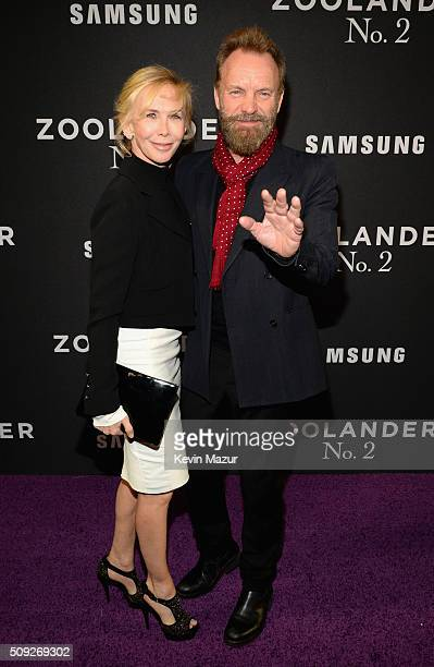 Trudie Styler and Sting attend the Zoolander 2 World Premiere at Alice Tully Hall on February 9 2016 in New York City
