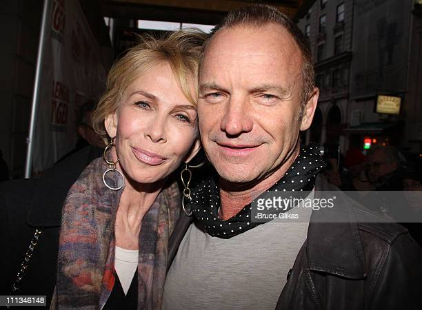Trudie Styler and Sting pose at The Opening Night of Bengal Tiger at the Baghdad Zoo on Broadway at Richard Rodgers Theatre on March 31 2011 in New...