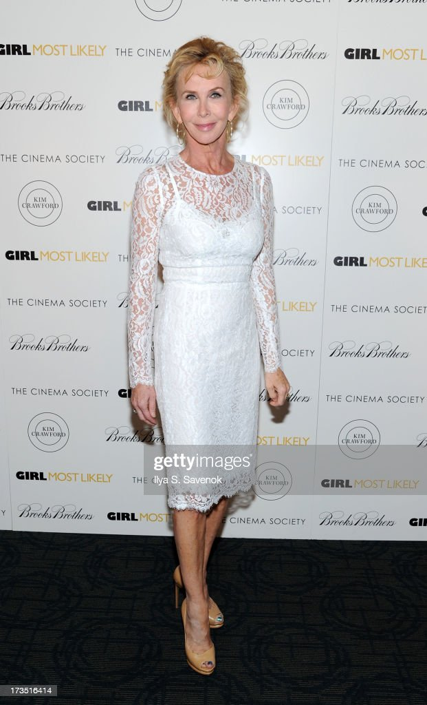 Trudie Styler attends The Cinema Society & Brooks Brothers Host A Screening Of Lionsgate And Roadside Attractions' 'Girl Most Likely's at Landmark Sunshine Cinema on July 15, 2013 in New York City.