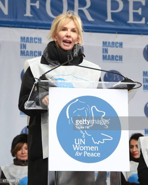 """Trudie Styler attends the """"MARCH IN MARCH"""" to end violence against women at Dag Hammarskjold Plaza at the United Nations on March 7, 2014 in New York..."""