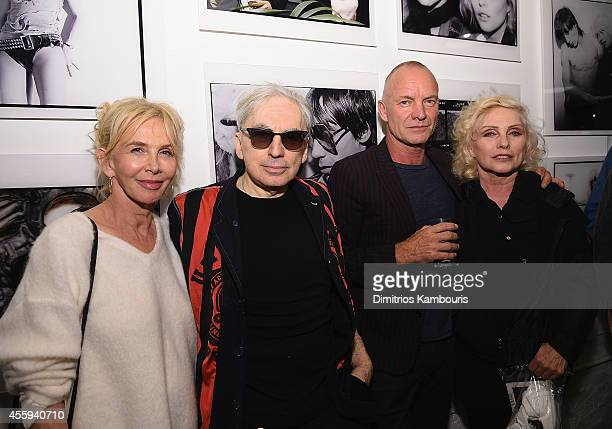 Trudie Styler Chris Stein Sting and Debbie Harry attend The 40th Anniversary Of Blondie exhibition at Chelsea Hotel Storefront Gallery on September...