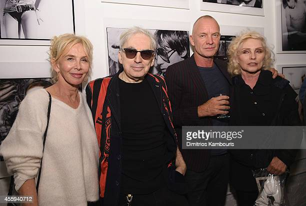 Trudie Styler, Chris Stein, Sting and Debbie Harry attend The 40th Anniversary Of Blondie exhibition at Chelsea Hotel Storefront Gallery on September...