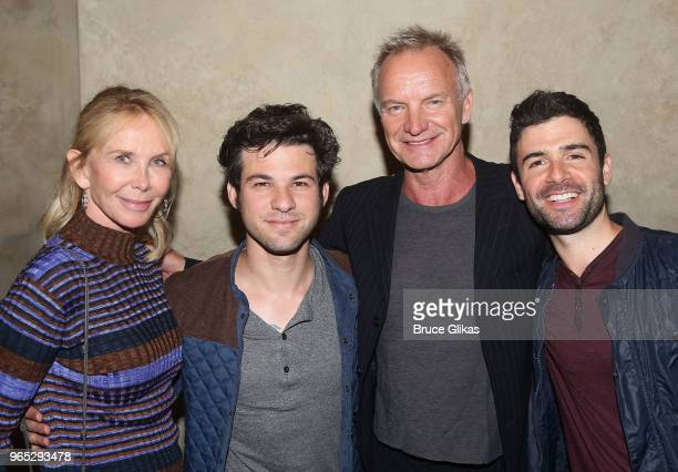 Trudie Styler Etai Benson Sting and Adam Kantor pose backstage at the hit musical 'The Band's Visit' on Broadway at The Barrymore Theatre on May 31...
