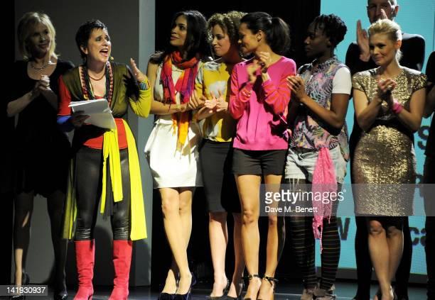 Trudie Styler, Eve Ensler, Rosario Dawson, Stephanie Siadatan, Thandie Newton, Ony Uhiara, Richard Strange and MyAnna Buring bow at the curtain call...