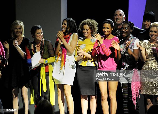 Trudie Styler, Eve Ensler, Rosario Dawson, Stephanie Siadatan, Thandie Newton, Richard Strange, Ony Uhiara and MyAnna Buring bow at the curtain call...