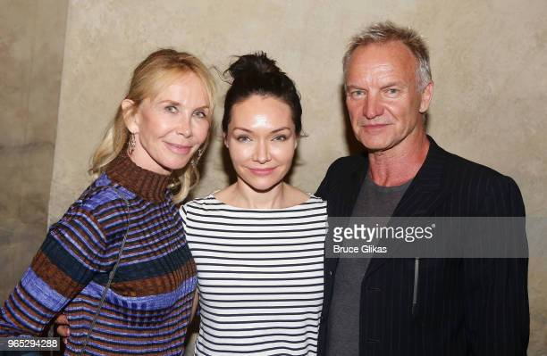 Trudie Styler Katrina Lenk and Sting pose backstage at the hit musical The Band's Visit on Broadway at The Barrymore Theatre on May 31 2018 in New...