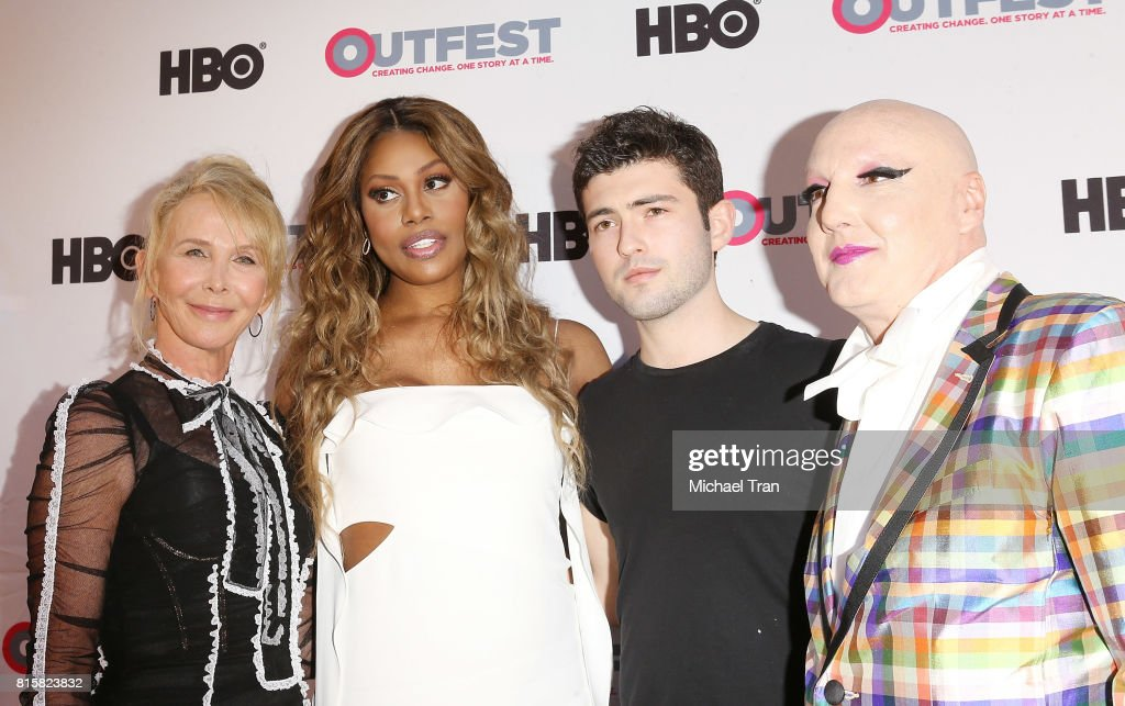 Trudie Styler, Laverne Cox, Ian Nelson and arrives at the 2017 Outfest Los Angeles LGBT Film Festival - closing night gala screening of 'Freak Show' held at The Theatre at Ace Hotel on July 16, 2017 in Los Angeles, California.