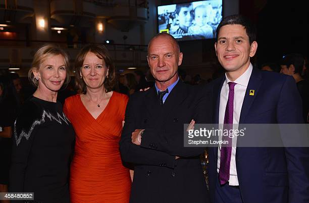 Trudie Styler Louise Shackelton Sting and IRC President and CEO David Miliband attend the Annual Freedom Award Benefit Event hosted by International...