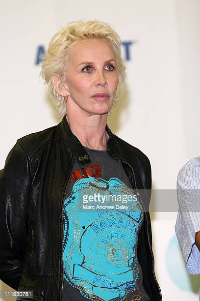 Trudie Styler poses in the press room at the Live Earth New York Concert held at Giants Stadium on July 7, 2007 in East Rutherford, New Jersey