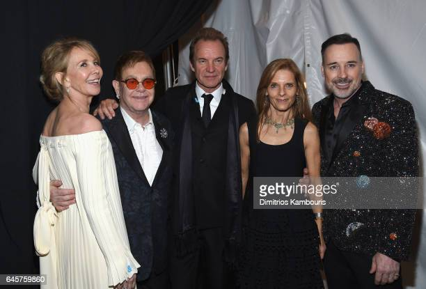 Trudie Styler Sir Elton John Sting Sandra Brandt and David Furnish attend the 25th Annual Elton John AIDS Foundation's Academy Awards Viewing Party...