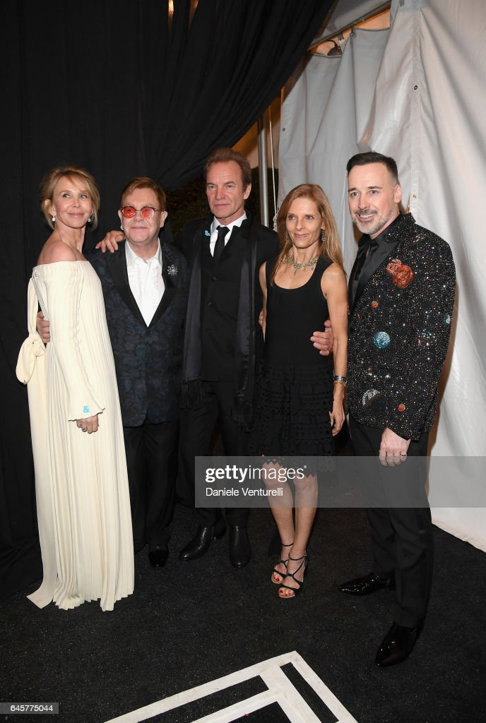 Trudie Styler, Sir Elton John, Sting, Sandra Brandt, and David Furnish attend Bulgari at the 25th Annual Elton John AIDS Foundation's Academy Awards Viewing Party at on February 26, 2017 in Los Angeles, California.