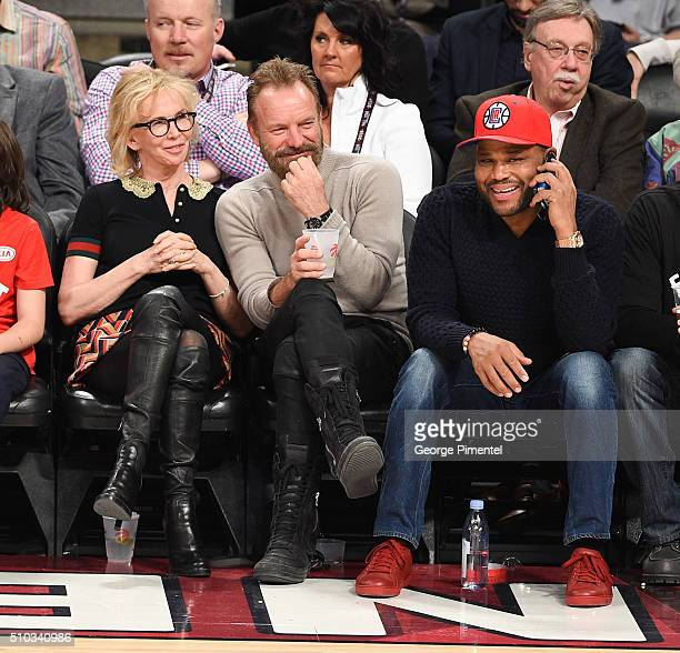 Trudie Styler Sting and actor Anthony Anderson attend the 2016 NBA AllStar Game at Air Canada Centre on February 14 2016 in Toronto Canada