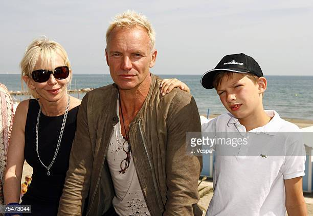 Trudie Styler, Sting and Giacomo Sumner in Venice Lido, Italy.